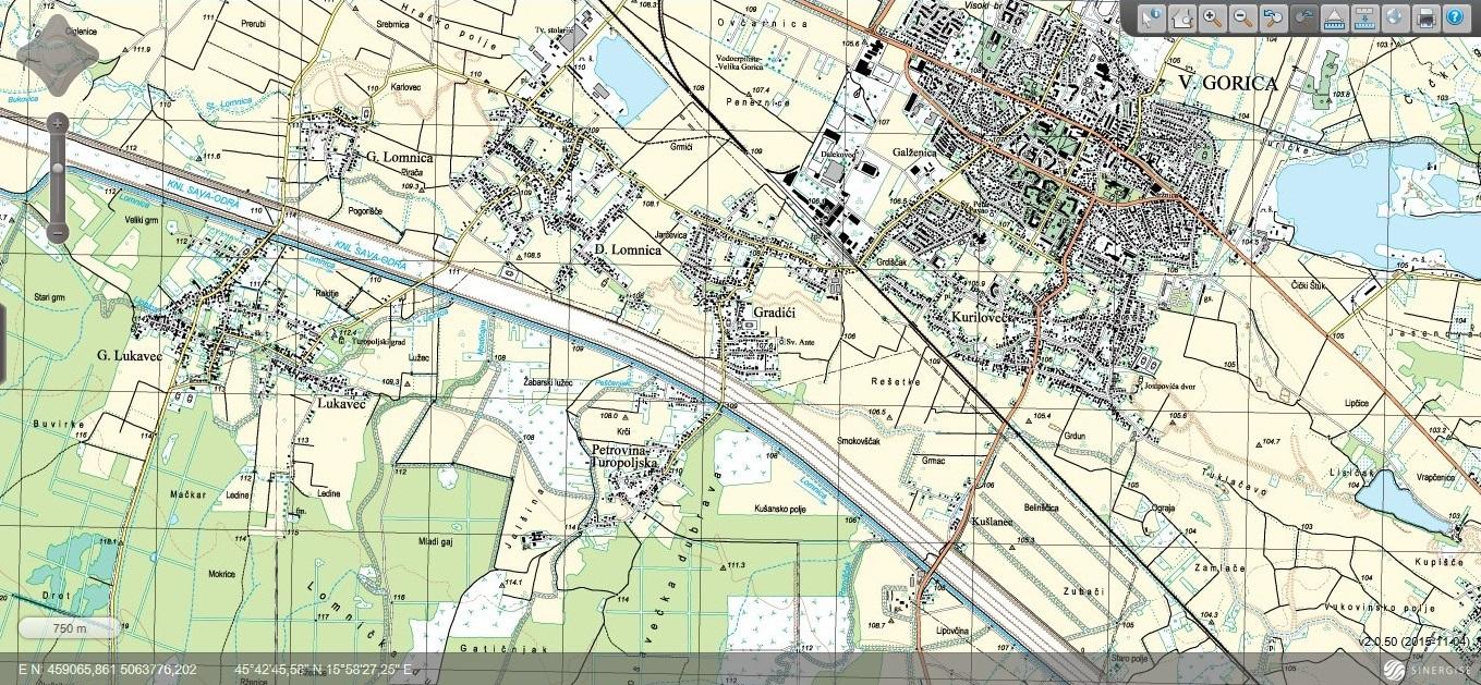 Lukavec topografska karta