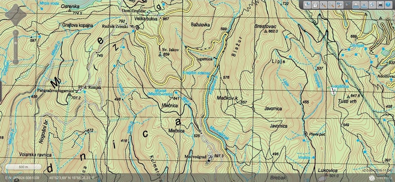 Medvedgrad topografska karta