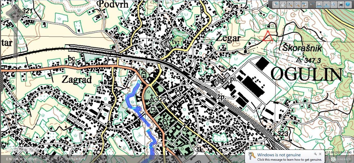 Ogulin-topografska karta