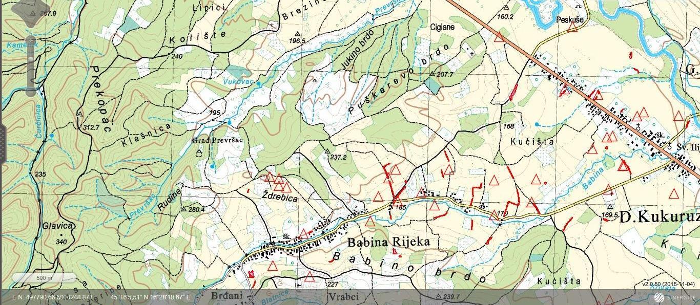Prekovršac-topografska karta
