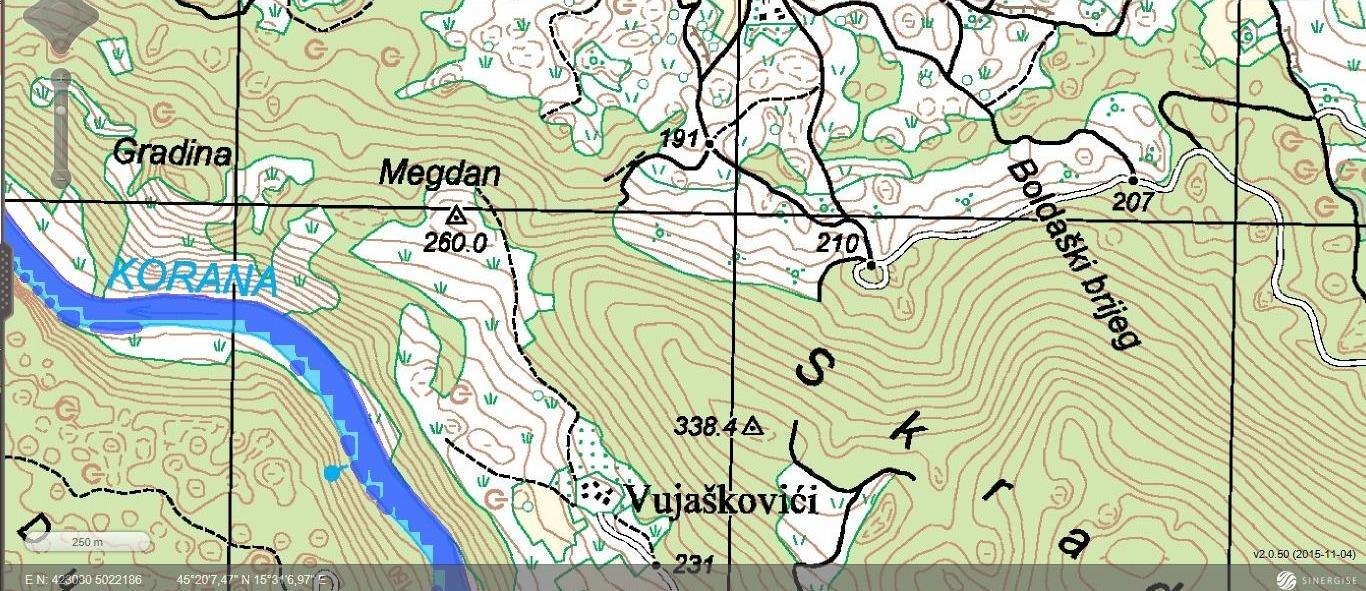 Skrad - topografska karta