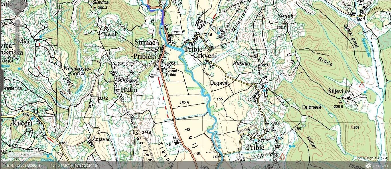 Strmec Pribički - topografska karta