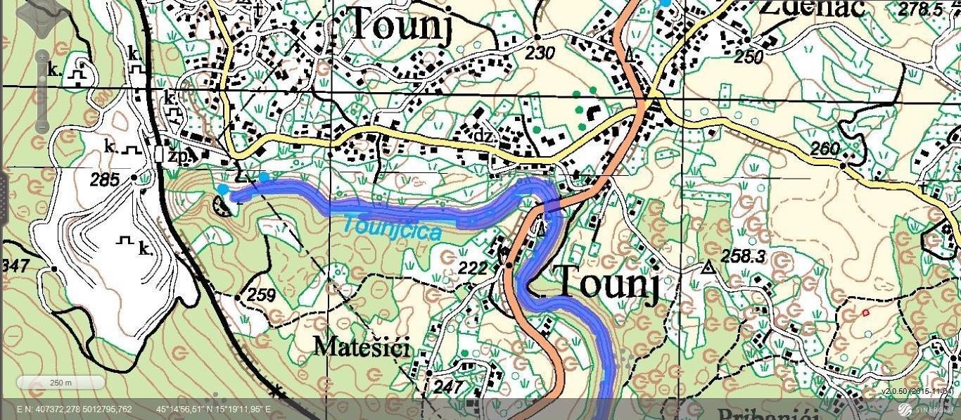 Tounj - topografska karta
