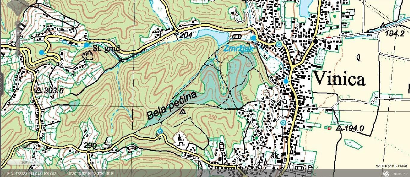 Vinica - topografska karta
