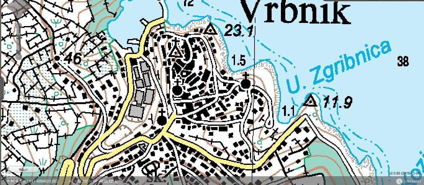 Vrbnik - topografska karta