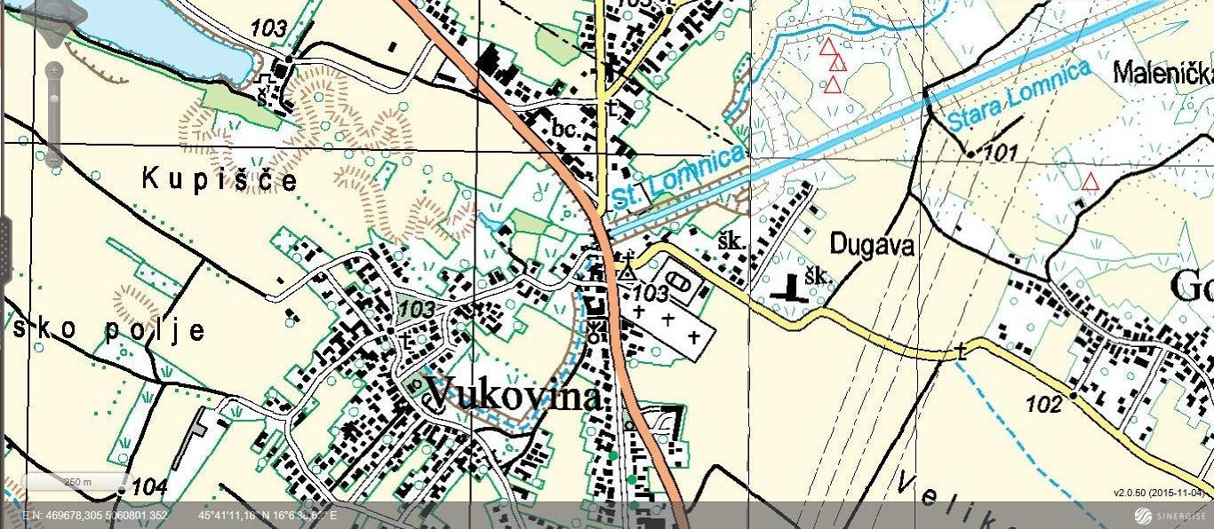 Vukovina - topografska karta