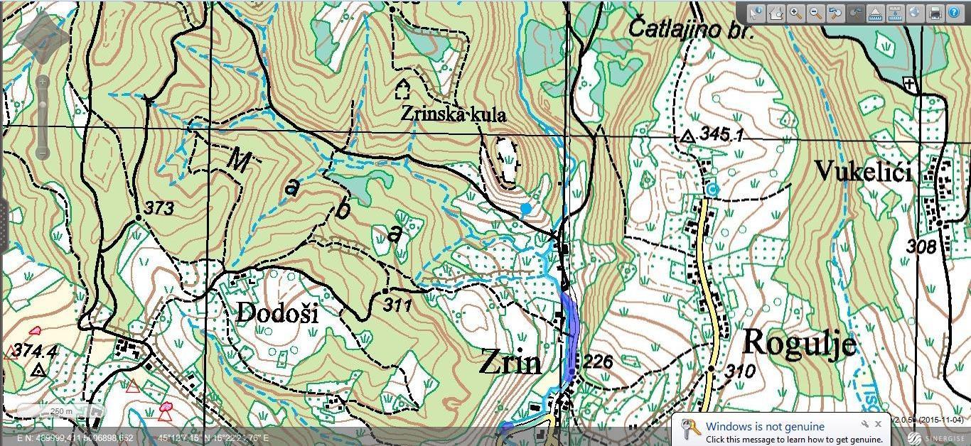 Zrin - topografska karta