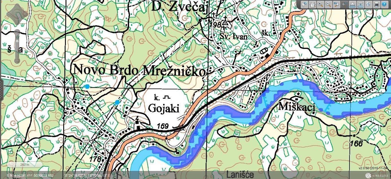 Zvečaj - topografska karta