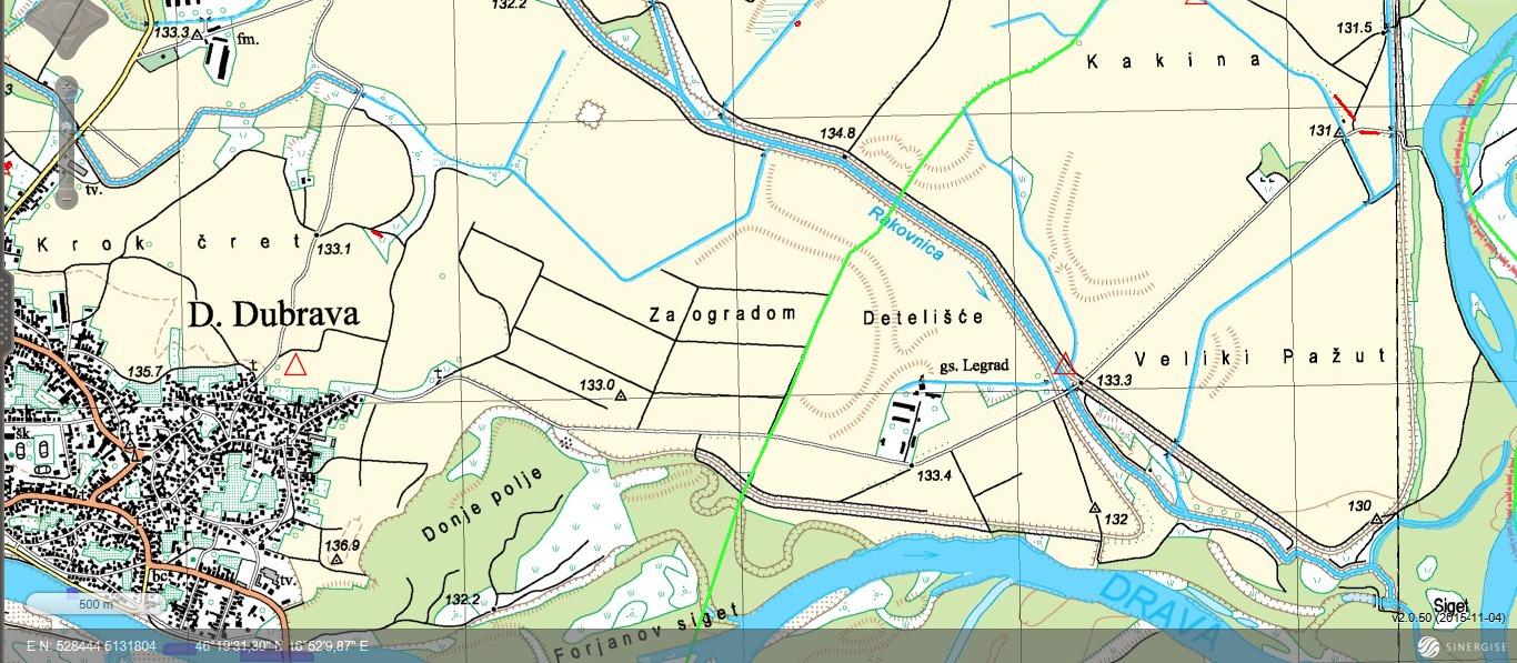 Novi Zrin - topografska karta