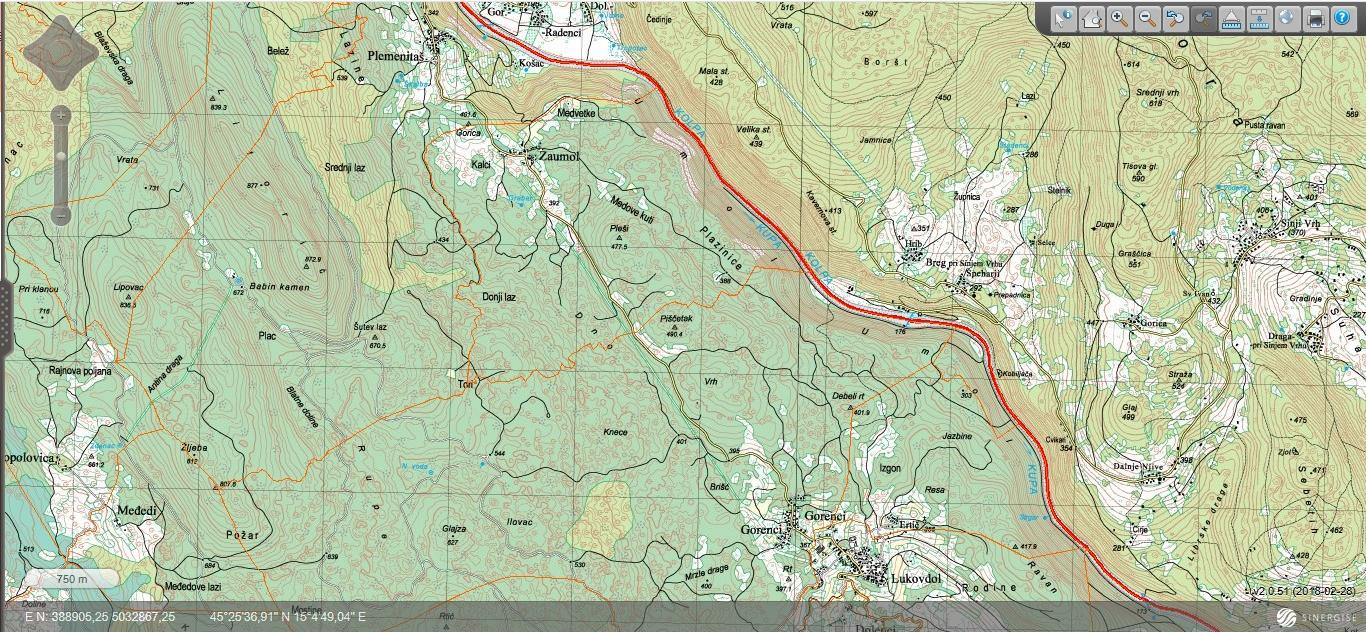 Plemenitaš - topografska karta